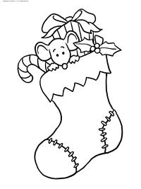 Мышка в рождественском носке - скачать и распечатать раскраску. Раскраска мышь, крыса