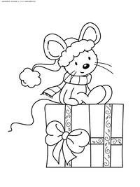 Мышонок с новогодним подарком - скачать и распечатать раскраску. Раскраска мышь, крыса, подарок