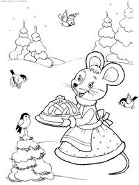 Мышка в зимнем лесу - скачать и распечатать раскраску. Раскраска мышь, пирог, зима