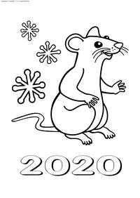 Символ года Крыса - скачать и распечатать раскраску. Раскраска мышь, крыса