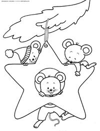 Мышки на елке - скачать и распечатать раскраску. Раскраска мышь, крыса