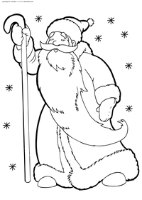 Дед Мороз с посохом - скачать и распечатать раскраску. Раскраска дед мороз