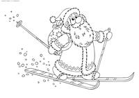 Дед Мороз на лыжах - скачать и распечатать раскраску. Раскраска дед мороз, зима