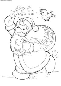 Дед Мороз с подарками - скачать и распечатать раскраску. Раскраска дед мороз