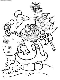 Дедушка Мороз - скачать и распечатать раскраску. Раскраска дед мороз, елка, мешок