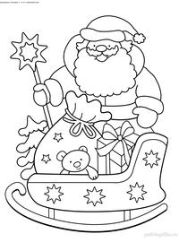 Дед Мороз и сани с подарками - скачать и распечатать раскраску. Раскраска дед мороз, подарки