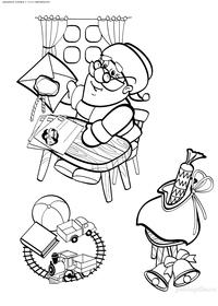 Дед Мороз готовит подарки - скачать и распечатать раскраску. Раскраска дед мороз, подарки