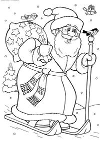 Дед Мороз на лыжах - скачать и распечатать раскраску. Раскраска дед мороз