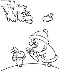 Дед Мороз дарит подарки - скачать и распечатать раскраску. Раскраска дед мороз, морковка, зайчик