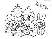 Дед Мороз дарит подарки детям - скачать и распечатать раскраску. Раскраска дед мороз, елка, новый год, подарки