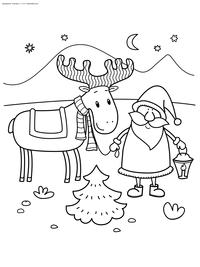 Дед Мороз и олень - скачать и распечатать раскраску. Раскраска дед мороз, север, олень