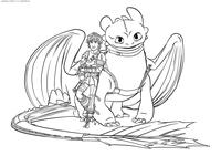 Иккинг и Беззубик - скачать и распечатать раскраску. Раскраска Дракон, викинг
