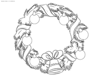 Рождественский венок - скачать и распечатать раскраску. Раскраска венок