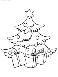 Елка с подарками - скачать и распечатать раскраску. Раскраска елка