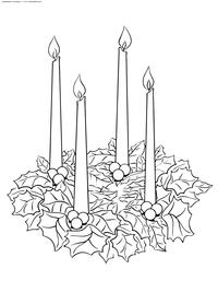 Рождественский венок со свечами - скачать и распечатать раскраску. Раскраска венок
