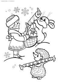 Снегурочка в зимнем лесу - скачать и распечатать раскраску. Раскраска снегурочка, заяц, ежик