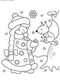Снегурочка - скачать и распечатать раскраску. снегурочка, белка