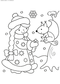 Снегурочка - скачать и распечатать раскраску. Раскраска снегурочка, белка