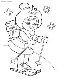 Снегурочка на лыжах - скачать и распечатать раскраску. Раскраска снегурочка