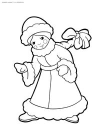 Снегурочка - скачать и распечатать раскраску. Раскраска снегурочка