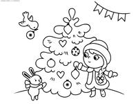 Снегурочка у Елки - скачать и распечатать раскраску. Раскраска снегурочка, елка, заяц