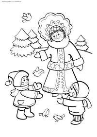 Снегурочка и дети - скачать и распечатать раскраску. Раскраска снегурочка, дети, лес, зима