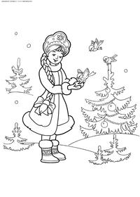 Снегурочка в новогоднем лесу - скачать и распечатать раскраску. Раскраска снегурочка, зима, елка