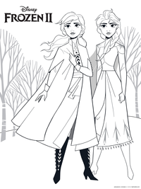Сестры - скачать и распечатать раскраску. Раскраска анна, эльза, сестры, холодное сердце