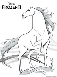 Дух воды - конь Нокк - скачать и распечатать раскраску. Раскраска конь, лошадь, холодное сердце 2