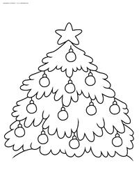 Нарядная елка - скачать и распечатать раскраску. Раскраска елка