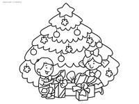 Подарки у елки - скачать и распечатать раскраску. Раскраска елка, дети, подарки, новый год