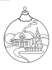 Новогодний шар - скачать и распечатать раскраску. елочная игрушка, шар