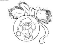 Шар с обезьянкой - скачать и распечатать раскраску. Раскраска новогодние игрушки, шар