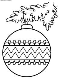 Елочные шар на ветке - скачать и распечатать раскраску. Раскраска шар, новый год