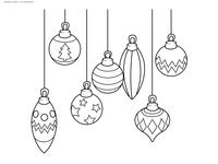 Ёлочные игрушки - скачать и распечатать раскраску. Раскраска Новогоднее украшение, шарики на ёлку, раскраска для детей в новый год