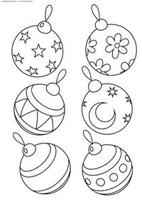 Елочные шары - скачать и распечатать раскраску. Раскраска шар, игрушка