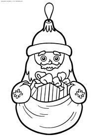 Дед Мороз - скачать и распечатать раскраску. Раскраска игрушка