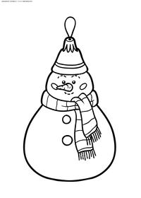 Снеговик - скачать и распечатать раскраску. Раскраска игрушка