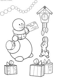 Снеговик с письмом - скачать и распечатать раскраску. Раскраска снеговик, письмо
