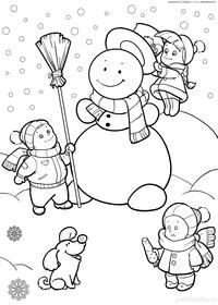 Дети лепят Снеговика - скачать и распечатать раскраску. Раскраска снеговик, дети, зима