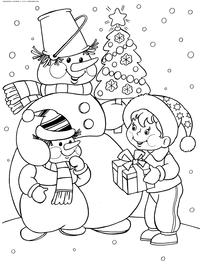 Снеговик дарит подарок - скачать и распечатать раскраску. Раскраска снеговик