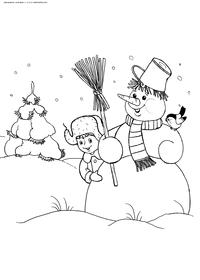 Снеговик в зимнем лесу - скачать и распечатать раскраску. Раскраска снеговик, зима