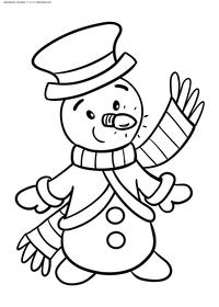 Снеговик - скачать и распечатать раскраску. Раскраска снеговик