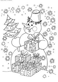 Снеговик с подарками - скачать и распечатать раскраску. Раскраска снеговик