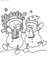 Веселые снеговики - скачать и распечатать раскраску. Раскраска снеговик. елка