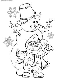 Малыш лепит Снеговика - скачать и распечатать раскраску. Раскраска снеговик