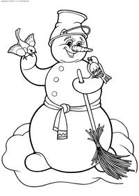 Снеговик - скачать и распечатать раскраску. снеговик
