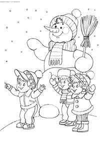 Дети и Снеговик - скачать и распечатать раскраску. Раскраска снеговик