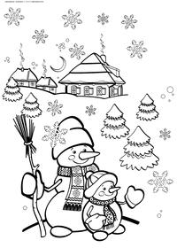 Снеговички - скачать и распечатать раскраску. Раскраска снеговик, зима