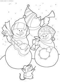 Мышонок и Снеговики - скачать и распечатать раскраску. Раскраска оркестр, снеговик, мышь, мышонок